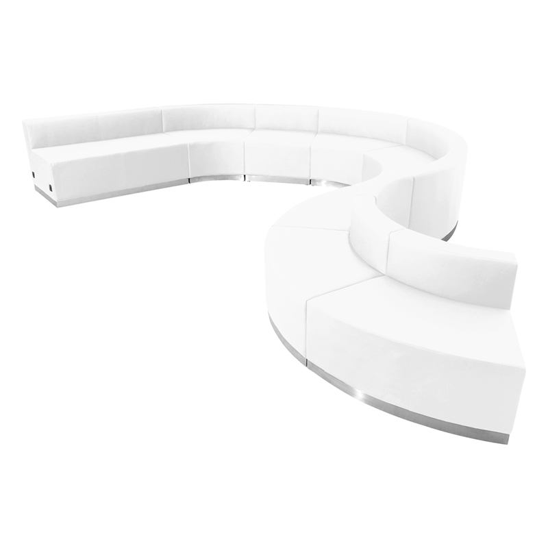 #102 - LOUNGE SERIES WHITE LEATHER RECEPTION CONFIGURATION, 9 PIECES