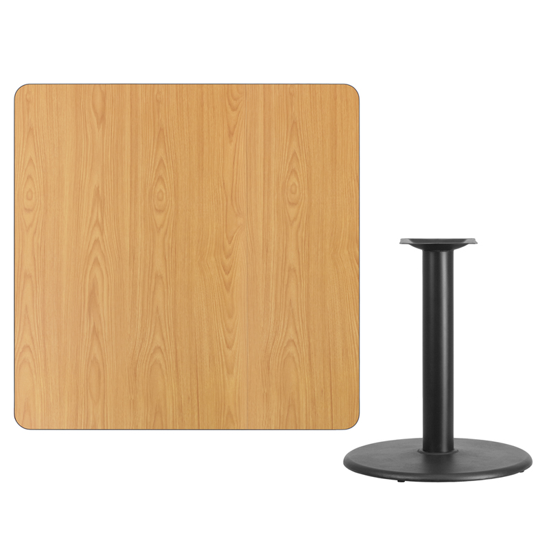 #116 - 42'' SQUARE NATURAL LAMINATE TABLE TOP WITH 24'' ROUND TABLE HEIGHT BASE