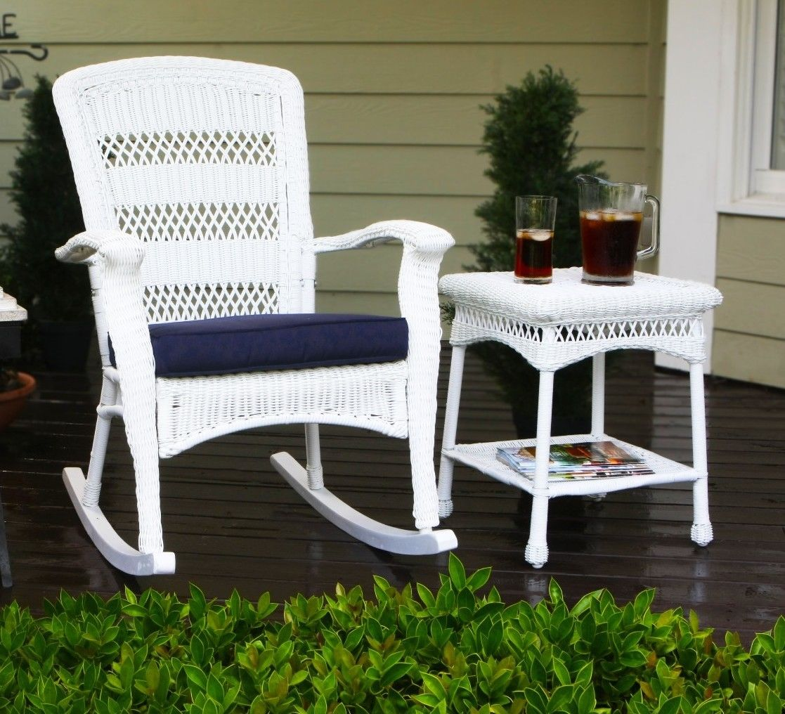 #8 - Outdoor Patio Garden Plantation Style Rocking Chair w/Coastal White Resin Wicker