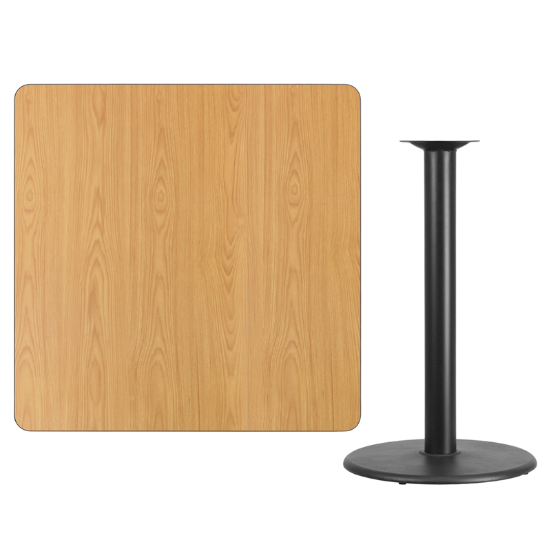 #117 - 42'' SQUARE NATURAL LAMINATE TABLE TOP WITH 24'' ROUND BAR HEIGHT BASE