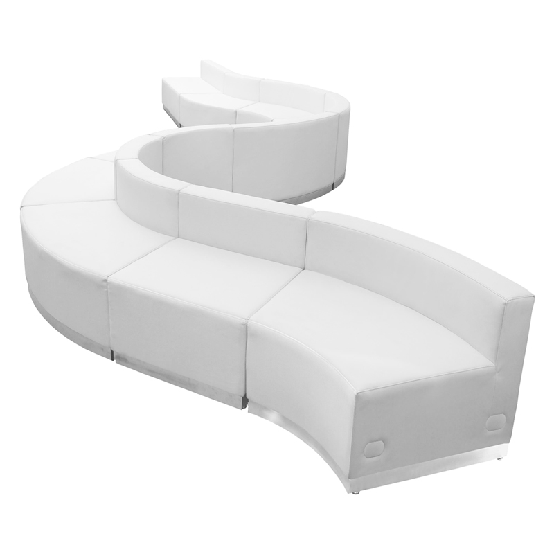 #103 -  LOUNGE SERIES WHITE LEATHER RECEPTION CONFIGURATION, 10 PIECES
