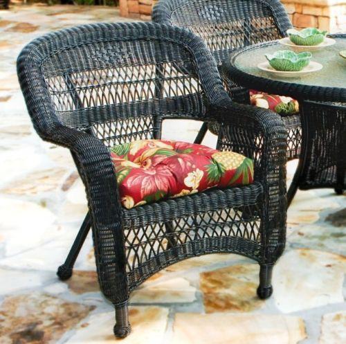 #34 - 5 Piece Outdoor Patio Dark Roast Resin Wicker Dining Set with Mauna Loa Fabric