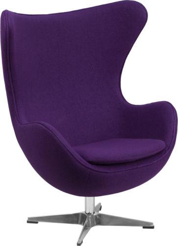 #37 - Purple Wool Fabric Egg Chair with Tilt-Lock Mechanism