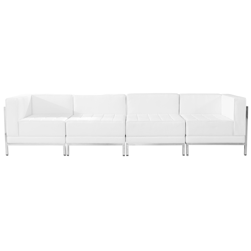 #65 - 4 Piece Imagination Series White Leather Lounge Chair Set