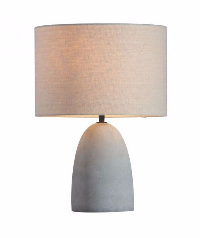 #49 - Contemporary Style Table Lamp w/Warm Beige Shade & Soft Grey Faux Concrete Base
