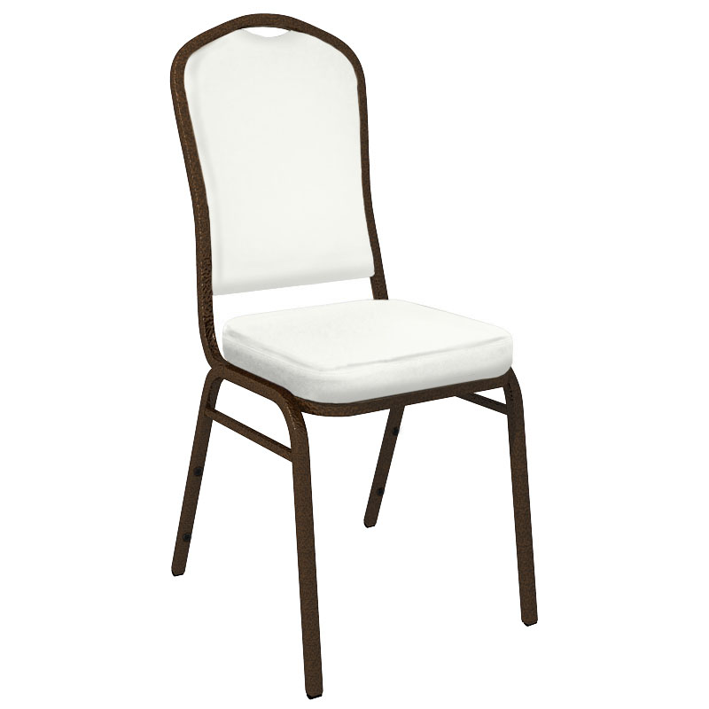 #9 - WALLABY WHITE VINYL UPHOLSTERED CROWN BACK BANQUET CHAIR - GOLD VEIN FRAME