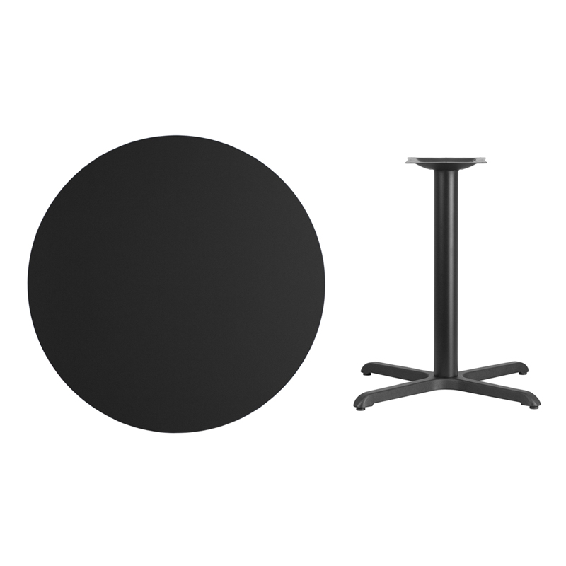 #33 - 36'' Round Black Laminate Table Top with 30'' x 30'' Table Height Base