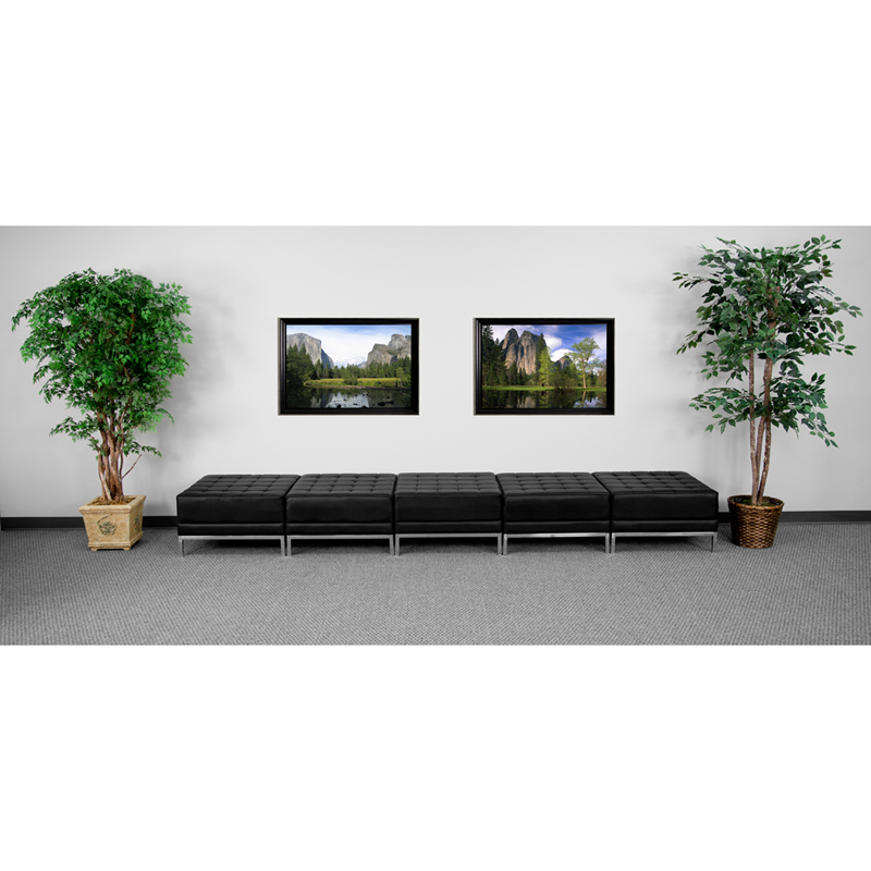 #27 - 5 Seat Ottoman Bench Imagination Series Black Leather