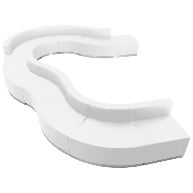 #104 - LOUNGE SERIES WHITE LEATHER RECEPTION CONFIGURATION, 11 PIECES