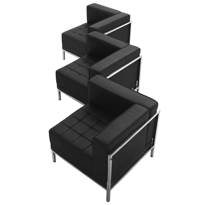 #28 - 3 Piece Imagination Series Black Leather Corner Chair Set