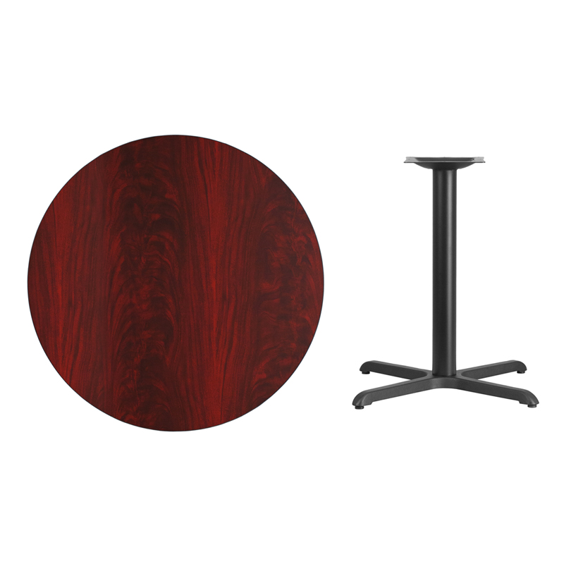 #35 - 36'' Round Mahogany Laminate Table Top with 30'' x 30'' Table Height Base