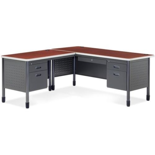 #9 - Mesa Series Secretarial Office Desk with Cherry Top and Left Return