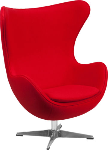 #39 - Red Wool Fabric Egg Chair with Tilt-Lock Mechanism