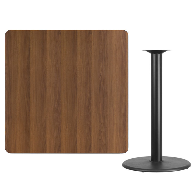 #119 - 42'' SQUARE WALNUT LAMINATE TABLE TOP WITH 24'' ROUND BAR HEIGHT BASE