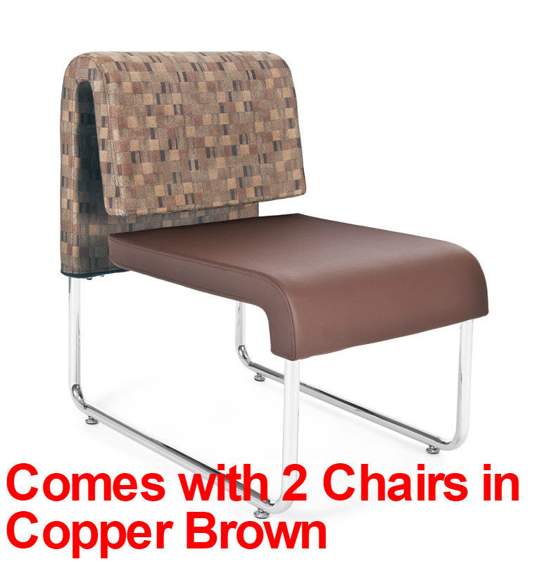#74 - (3 PCS) UNO Series Lounge Package w/Copper Brown Chairs & Painted Screen Table