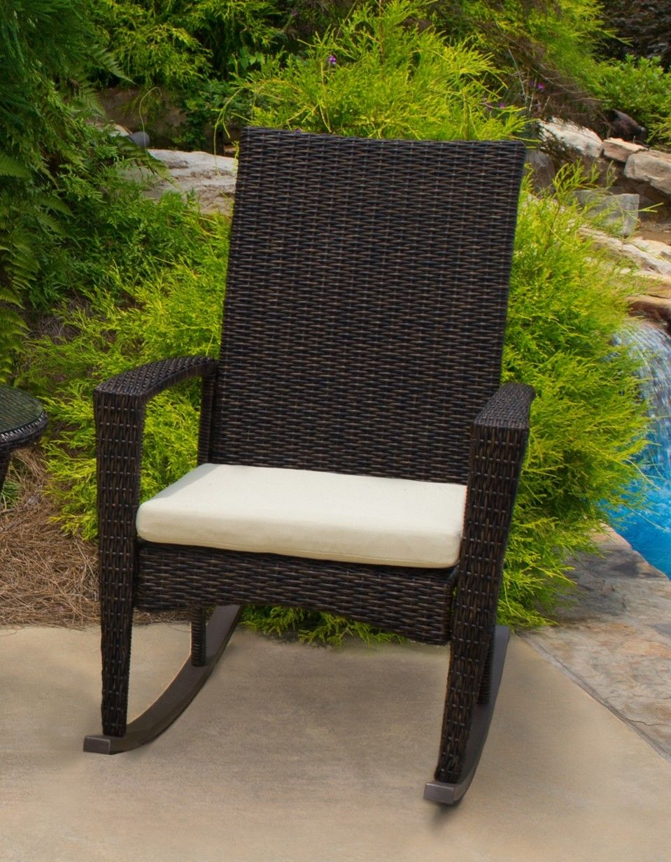 #165 - Outdoor Portside Patio Furniture Pecan Wicker Rocking Chairs w/ Aluminum Frame