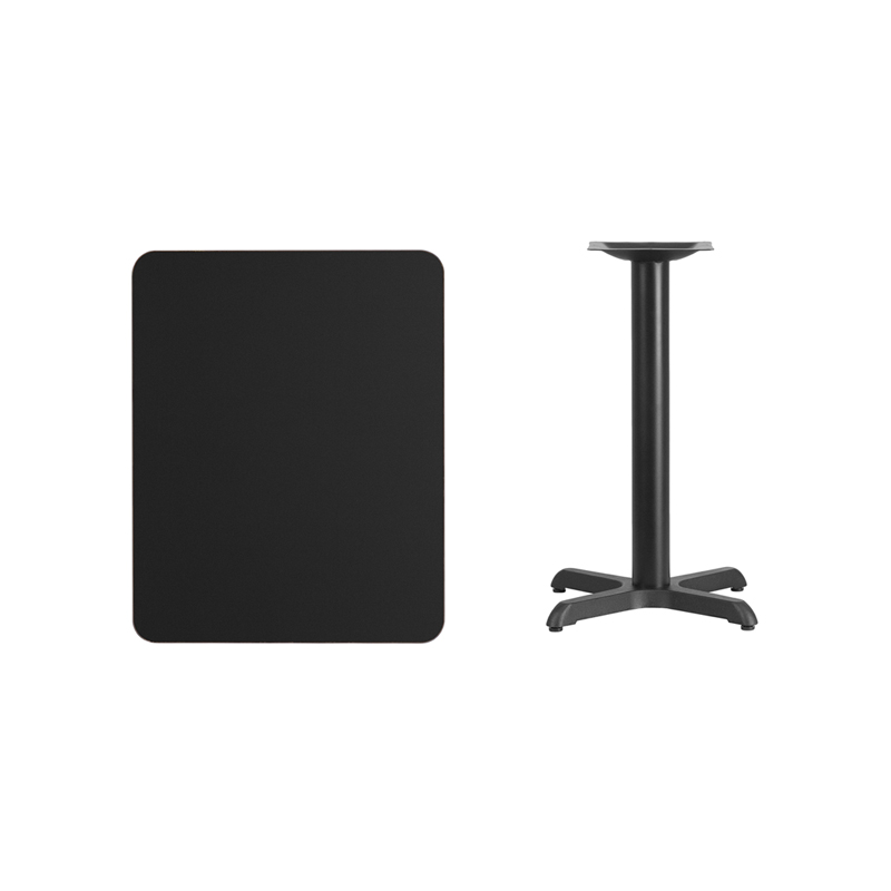 #120 - 24'' X 30'' RECTANGULAR BLACK LAMINATE TABLE TOP WITH 22'' X 22'' TABLE HEIGHT BASE