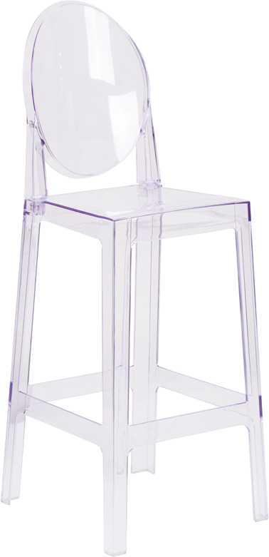 #23 -  29.75' Ghost Counter Stool in Transparent Crystal with Oval Backl