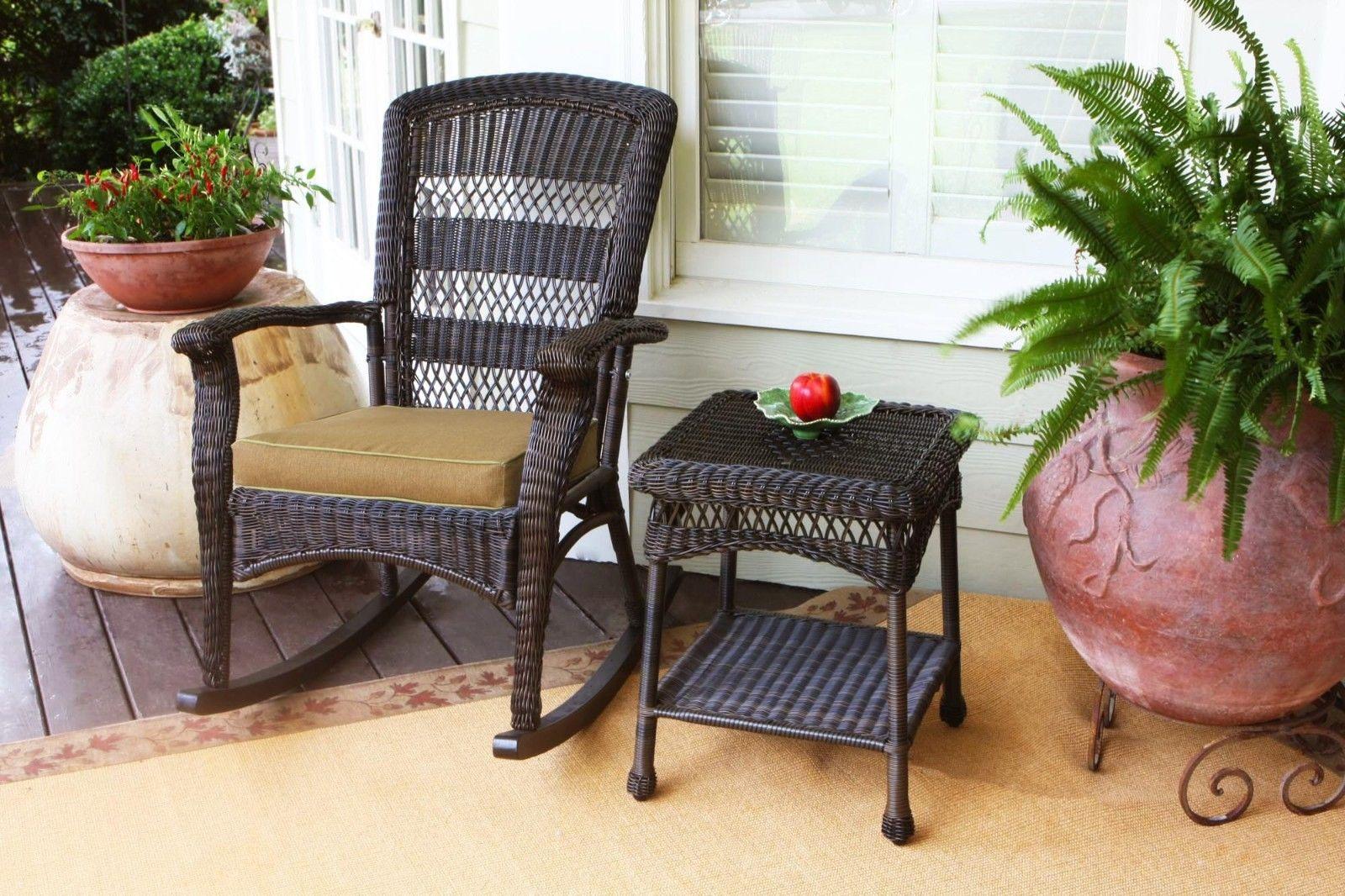 #9 - Outdoor Patio Garden Plantation Style Rocking Chair with Dark Roast Resin Wicker