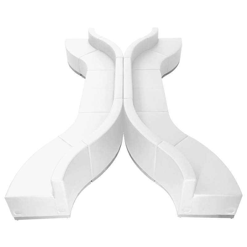 #107 - LOUNGE SERIES WHITE LEATHER RECEPTION CONFIGURATION, 10 PIECES