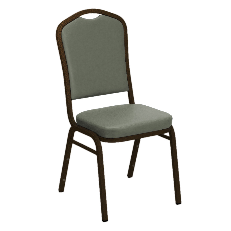 #11 - WALLABY GREY VINYL UPHOLSTERED CROWN BACK BANQUET CHAIR - GOLD VEIN FRAME