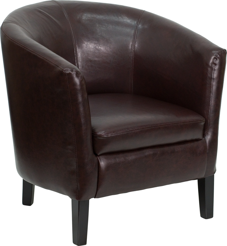 #21 - BROWN LEATHER BARREL SHAPED GUEST CHAIR