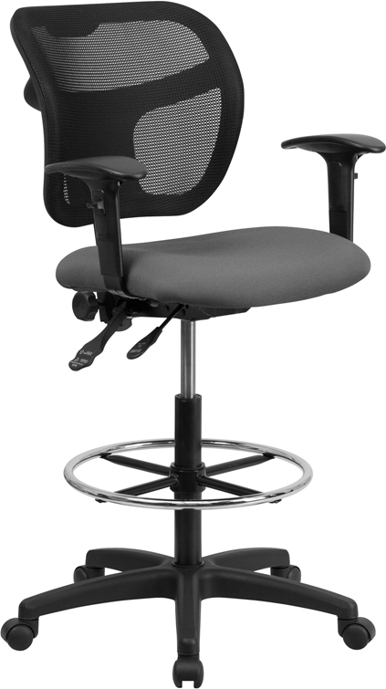 #37 - MID-BACK MESH DRAFTING STOOL WITH GRAY FABRIC SEAT AND ARMS