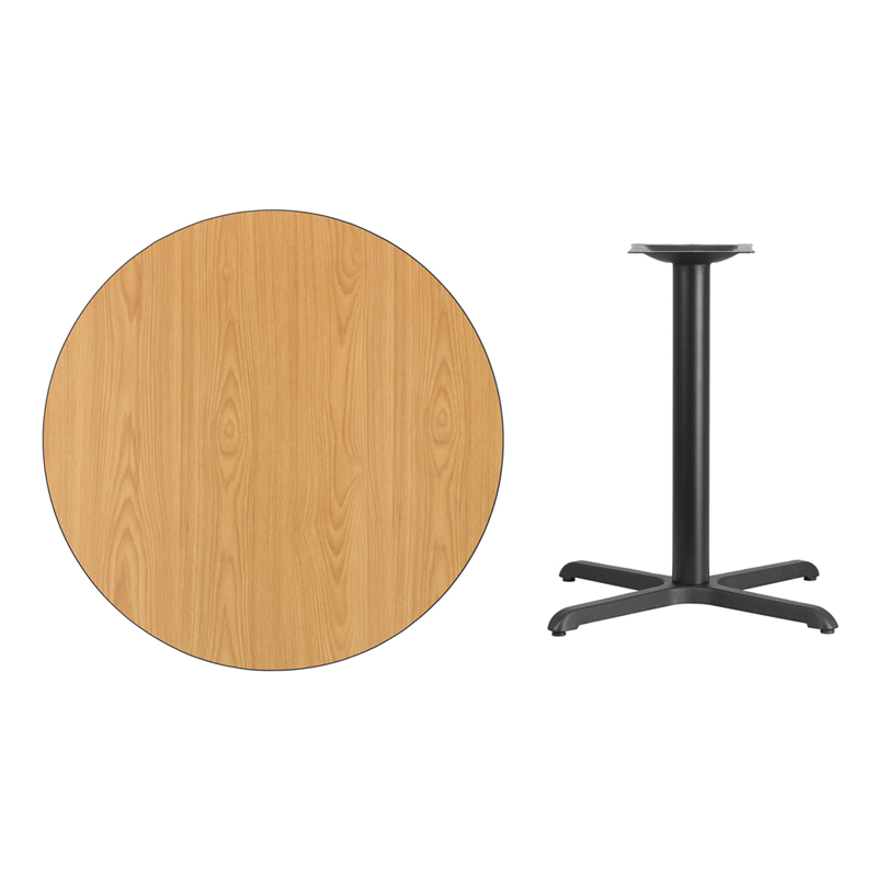 #37 - 36'' Round Natural Laminate Table Top with 30'' x 30'' Table Height Base