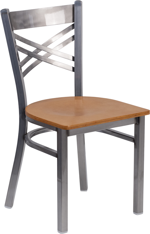 #32 - Clear Coated ''X'' Back Metal Restaurant Chair Natural Finished Wood Seat