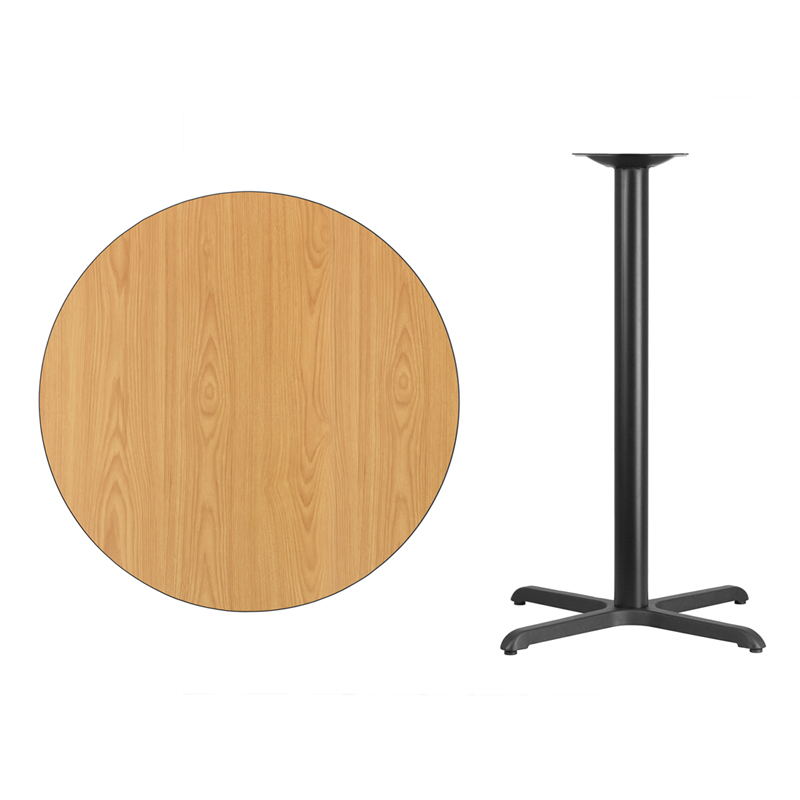 #38 - 36'' Round Natural Laminate Table Top with 30'' x 30'' Bar Height Base