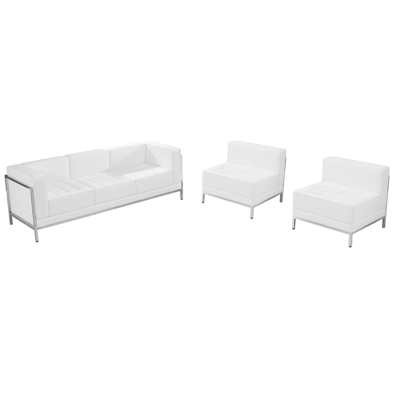 #66 - IMAGINATION SERIES WHITE LEATHER SOFA & CHAIR LOUNGE SET