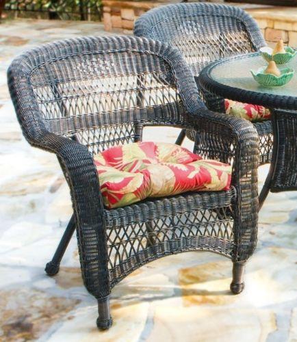 #35 - 5 Pc. Outdoor Patio Dark Roast Resin Wicker Dining Set w/ Lucien Pompeii Fabric