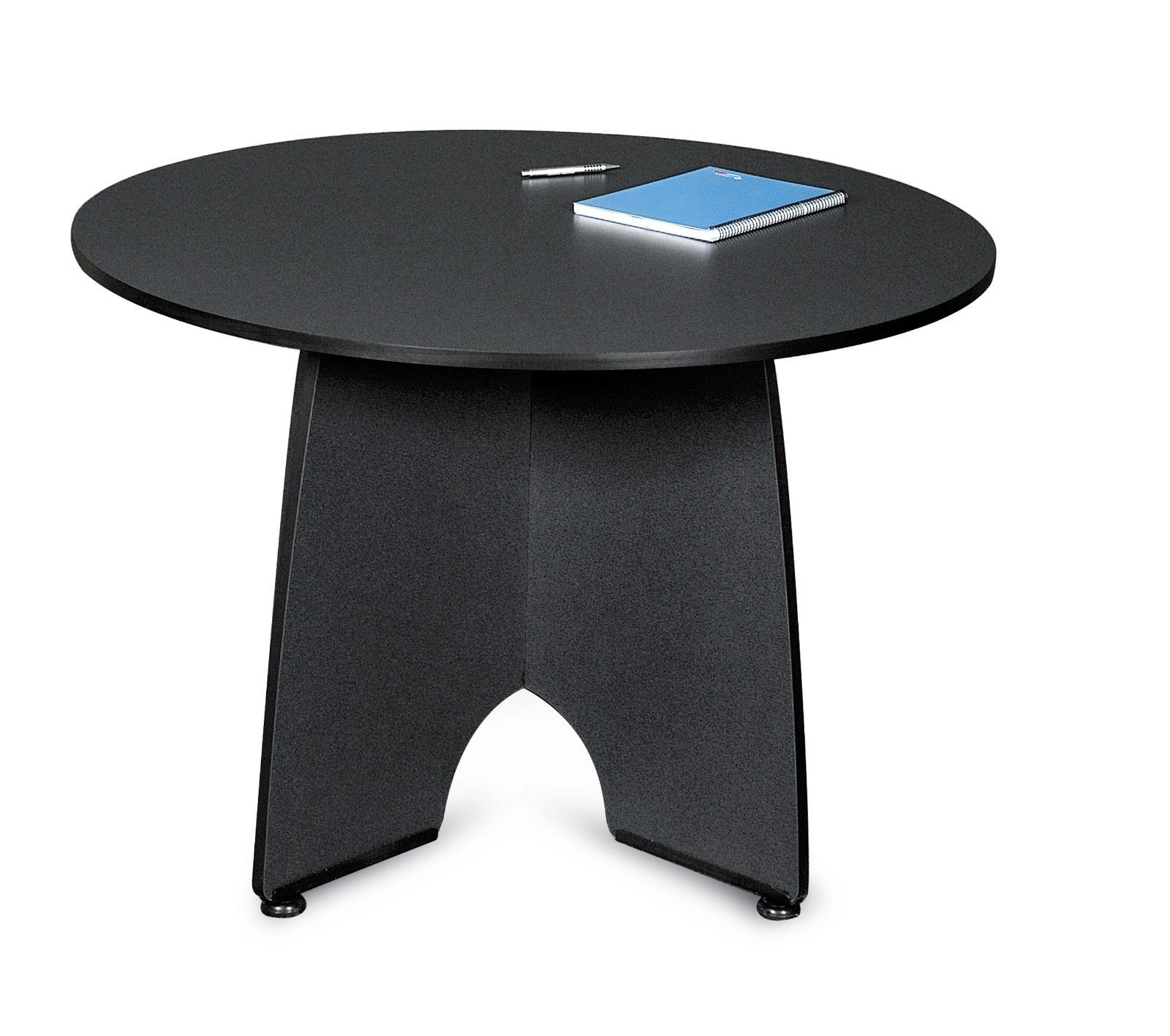 "#20 - 43"" Round Meeting Table with High-Pressure Laminate Surface and Graphite Finish"