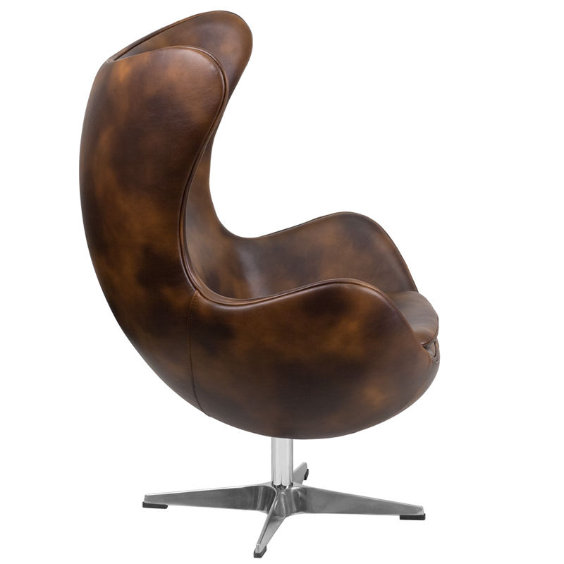 #33 - Bomber Jacket SoftLeather Egg Chair with Tilt-Lock Mechanism - Accent Lounge Chair