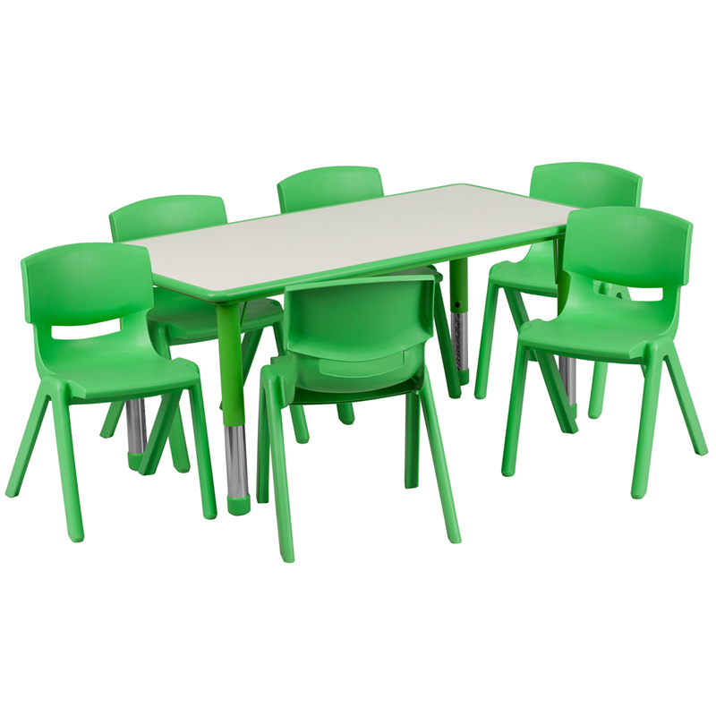 #11 - 23.625''W X 47.25''L ADJUSTABLE RECTANGULAR GREEN PLASTIC ACTIVITY TABLE SET WITH 6 SCHOOL STACK CHAIRS