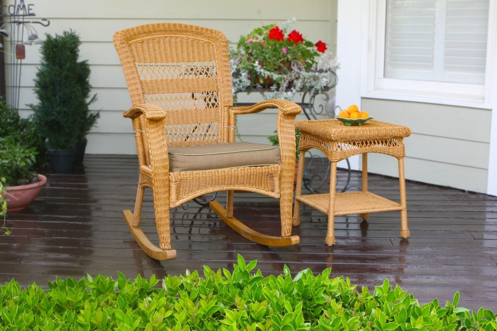 #10 - Outdoor Patio Plantation Style Rocking Chair with Southwest Amber Resin Wicker