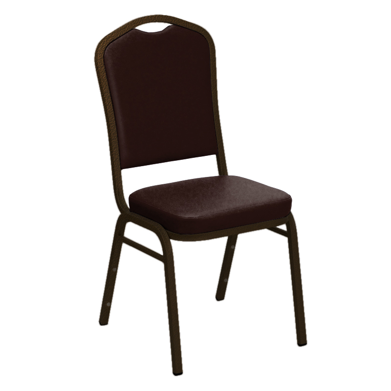 #12 - SIERRA MAPLE VINYL UPHOLSTERED CROWN BACK BANQUET CHAIR - GOLD VEIN FRAME