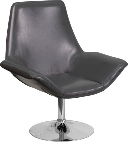 #43 - Contemporary Design Gray Leather Reception Lounge Chair - Office Lounge Chair