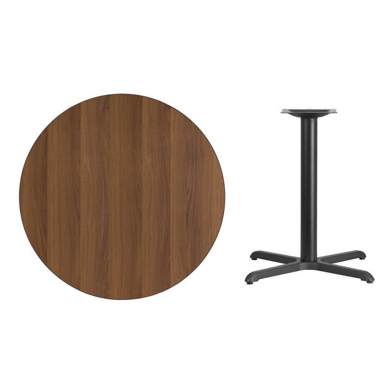#39 - 36'' Round Walnut Laminate Table Top with 30'' x 30'' Table Height Base