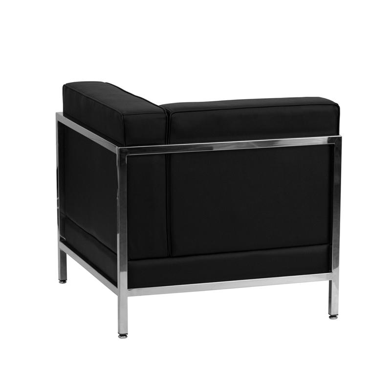 #29 - 5 Piece Imagination Series Black Leather Corner Chair Set