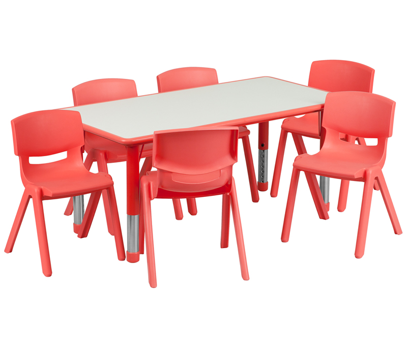 #12 - 23.625''W X 47.25''L ADJUSTABLE RECTANGULAR RED PLASTIC ACTIVITY TABLE SET WITH 6 SCHOOL STACK CHAIRS