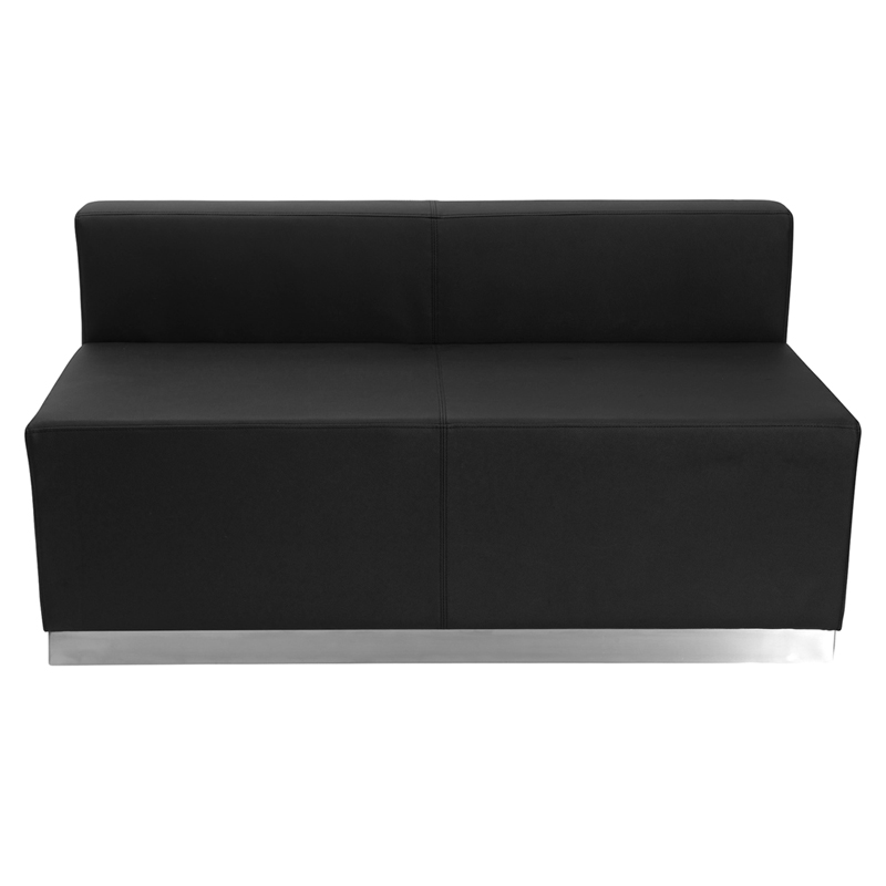 #4 - LOUNGE SERIES BLACK LEATHER LOVESEAT WITH BRUSHED STAINLESS STEEL BASE