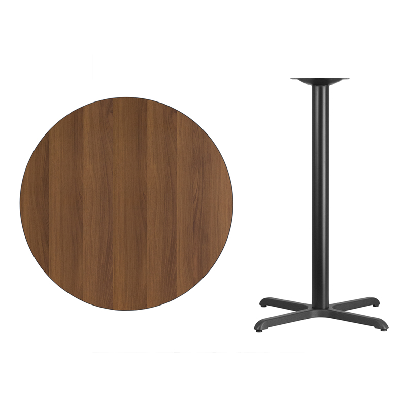 #40 - 36'' Round Walnut Laminate Table Top with 30'' x 30'' Bar Height Base