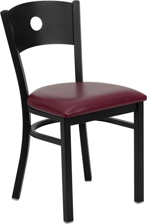 #85 - BLACK CIRCLE BACK METAL RESTAURANT CHAIR - BURGUNDY VINYL SEAT