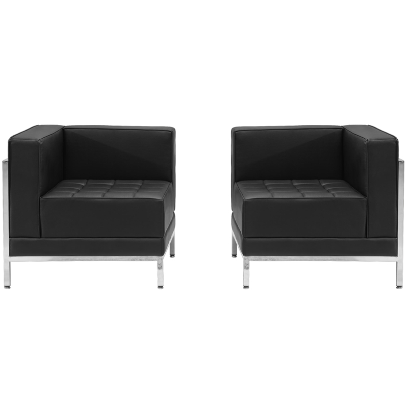 #30 - 2 Piece Imagination Series Black Leather Corner Chair Set