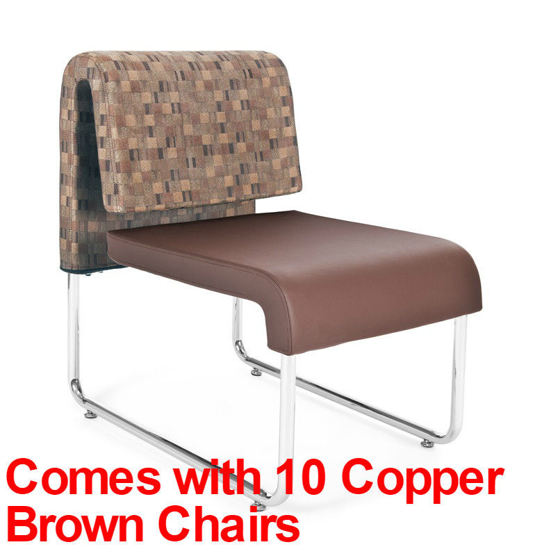 #14 - (15 PCS)UNO Series Lounge Package w/Copper Brown Chairs & Painted Screen Tables