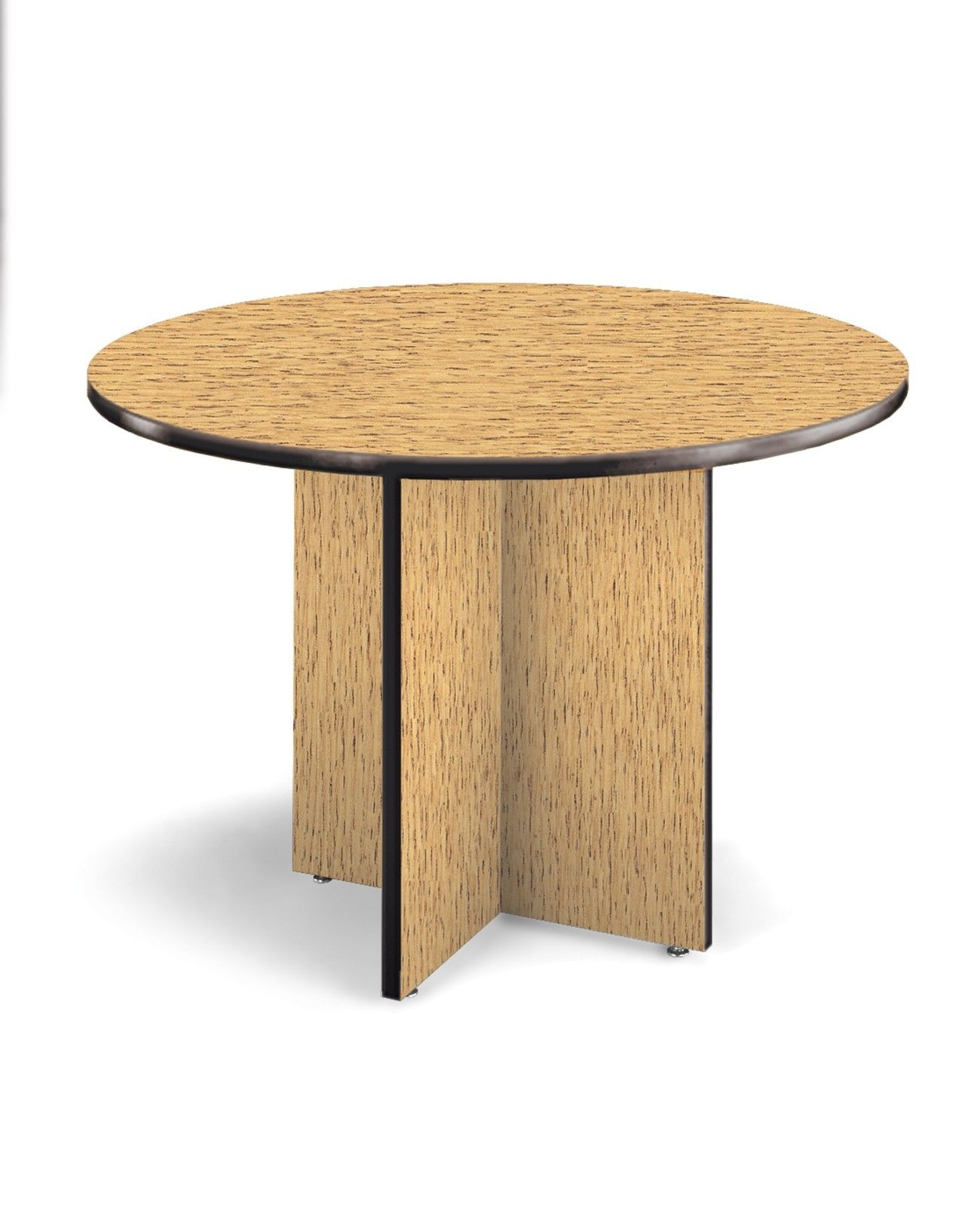 "#21 - 42"" Round Conference Table with High-Pressure Laminate Surface and Oak Finish"