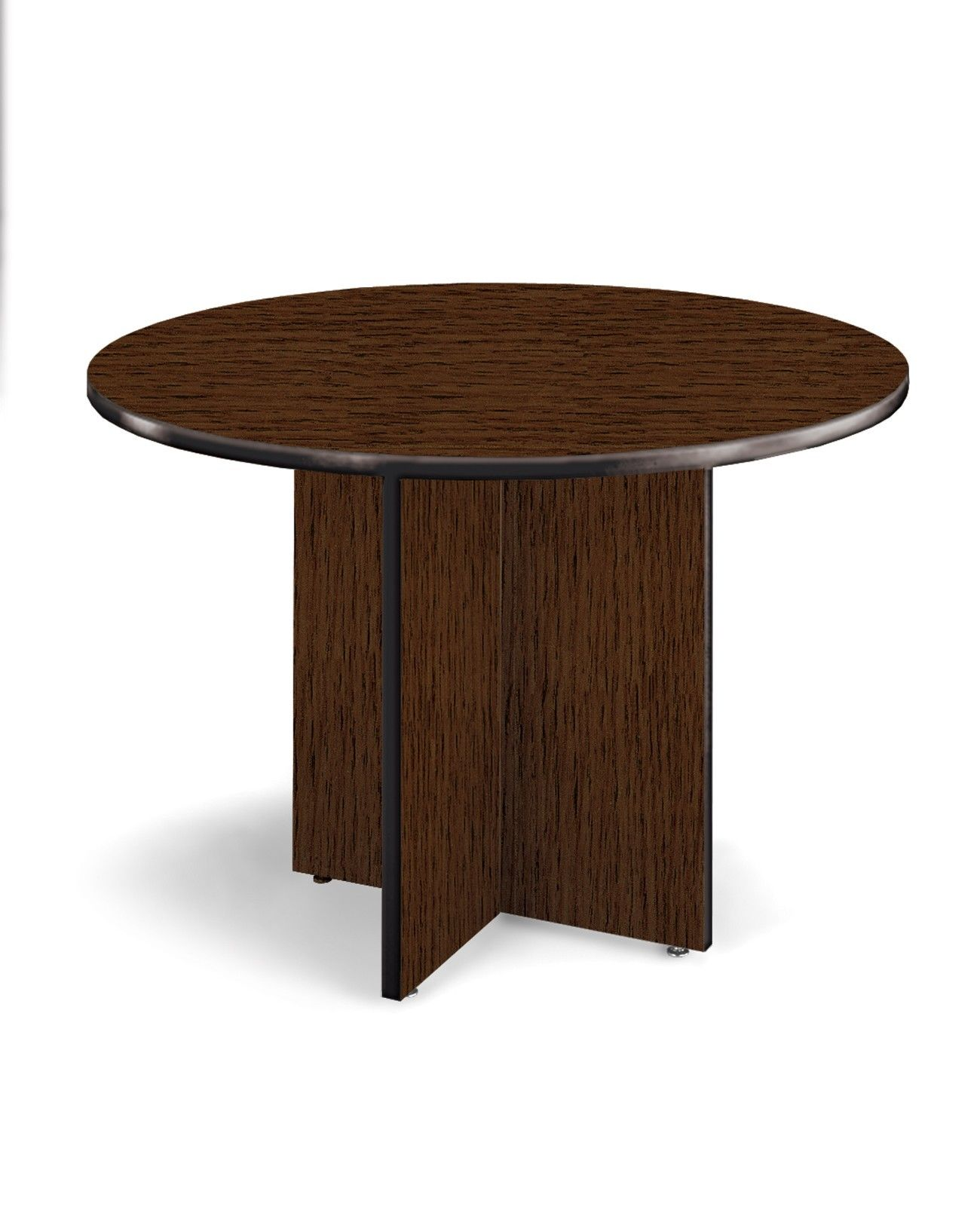 "#22 - 42"" Round Conference Table w/ High-Pressure Laminate Surface and Mahogany Finish"