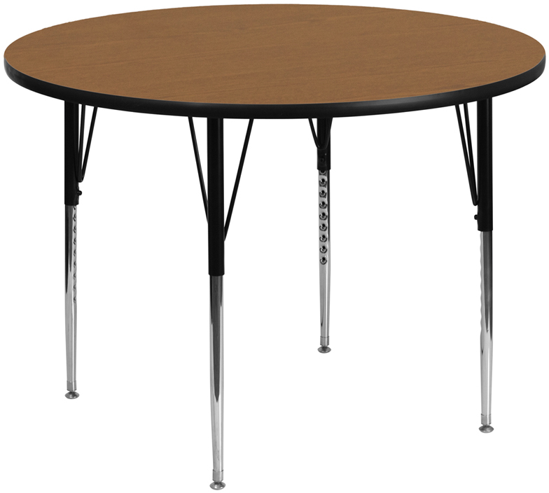#111 - 60'' Round Activity Table with Oak Thermal Fused Laminate Top and Standard Height Adjustable Legs