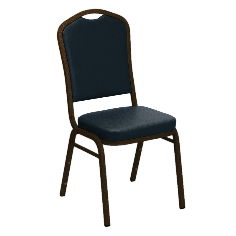 #13 - SIERRA ROYAL VINYL UPHOLSTERED CROWN BACK BANQUET CHAIR - GOLD VEIN FRAME